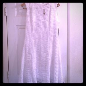 NY&Co White Textured Fit & Flare Dress